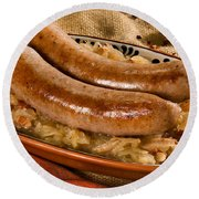 Bratwurst With Sauerkraut Round Beach Towel