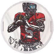 Braxton Miller 1 Round Beach Towel by Jeremiah Colley