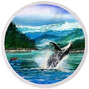 Breaching Humpback Whale Round Beach Towel