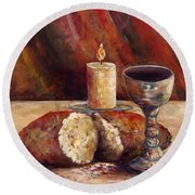 Bread And Wine Round Beach Towel by Lou Ann Bagnall