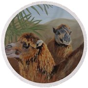 Round Beach Towel featuring the painting Break Time by Karen Ilari