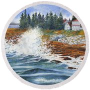 Breakers At Pemaquid Round Beach Towel