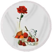 Breakfast For Lovers Round Beach Towel