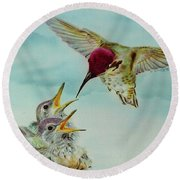 Round Beach Towel featuring the painting Breakfast by Thomas J Herring