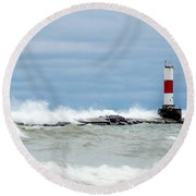 Round Beach Towel featuring the photograph Breaking by Steven Santamour