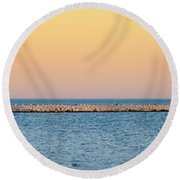 Round Beach Towel featuring the photograph Breaking The Sunset by Steven Santamour