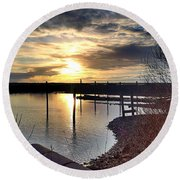 Round Beach Towel featuring the photograph Breakwater Boat Dock Sunset by Chriss Pagani