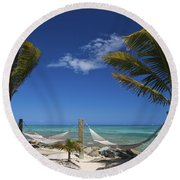 Breezy Island Life Round Beach Towel by Adam Romanowicz