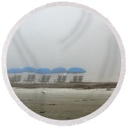 Round Beach Towel featuring the photograph 'brella Pattern by Kay Lovingood