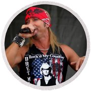 Bret Michaels In Philly Round Beach Towel