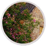 Round Beach Towel featuring the photograph Brick And Myrtle by Rodney Lee Williams