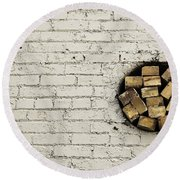 Bricks In The Wall - Abstract Round Beach Towel by Steven Milner