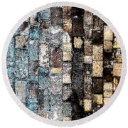 Bricks Of Turquoise And Gold Round Beach Towel by Stephanie Grant