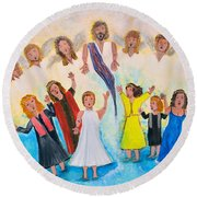 Round Beach Towel featuring the painting Bridal Invitation by Cassie Sears