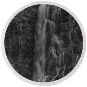 Bridal Veil Falls At Spearfish Canyon South Dakota Round Beach Towel