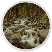 Bridalveil Creek In Yosemite Round Beach Towel