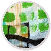 Bridge- Abstract Landscape Round Beach Towel