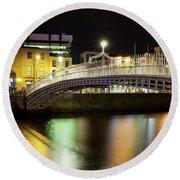 Bridge Across A River At Night, Hapenny Round Beach Towel