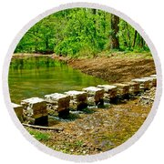 Bridge Across Colbert Creek At Mile 330 Of Natchez Trace Parkway-alabama Round Beach Towel