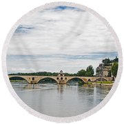 Bridge At Avignon Round Beach Towel