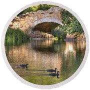 Round Beach Towel featuring the photograph Bridge At Stow Lake by Kate Brown