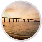 Bridge At Sunrise Round Beach Towel
