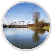 Round Beach Towel featuring the photograph Bridge At Upper Lisle by Christina Rollo