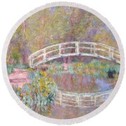 Bridge In Monet's Garden Round Beach Towel by Claude Monet