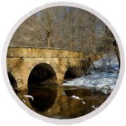 Bridge In Woods Round Beach Towel