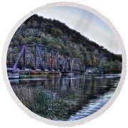 Round Beach Towel featuring the photograph Bridge On A Lake by Jonny D