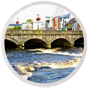 Bridge On The Garavogue Round Beach Towel