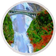Bridge Over Beautiful Water Round Beach Towel