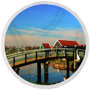 Bridge Over Calm Waters Round Beach Towel by Jonah  Anderson