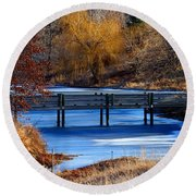 Round Beach Towel featuring the photograph Bridge Over Icy Waters by Elizabeth Winter
