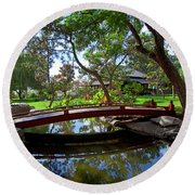 Round Beach Towel featuring the photograph Bridge Over Japanese Gardens Tea House by Jerry Cowart