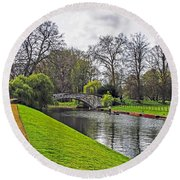 Bridge Over River Cam Round Beach Towel