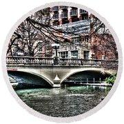 Round Beach Towel featuring the photograph Bridge Over San Antonio River by Deborah Klubertanz