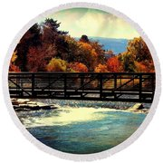 Bridge Over The Truckee River Round Beach Towel