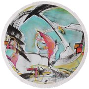 Bridge Over Water Round Beach Towel by Asha Carolyn Young