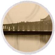 Bridge Reflection In Sepia Round Beach Towel