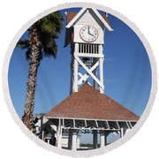 Round Beach Towel featuring the photograph Bridge Street Pier And Clocktower  by Christiane Schulze Art And Photography