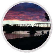 Bridge Sunset In June Round Beach Towel