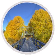Bridge To Autumn Round Beach Towel