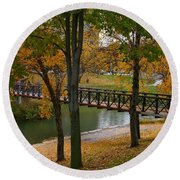 Round Beach Towel featuring the photograph Bridge To Fall by Elizabeth Winter