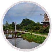 Bridge To Holland Windmill Round Beach Towel