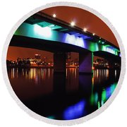 Bridge To Long Beach Round Beach Towel