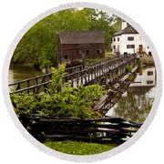 Round Beach Towel featuring the photograph Bridge To Philipsburg Manor Mill House by Jerry Cowart