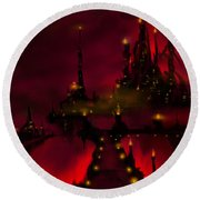 Bridge To Red Castle Round Beach Towel