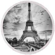Bridge To The Eiffel Tower Round Beach Towel