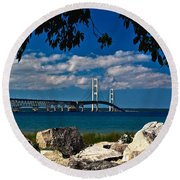 Bridge To The U.p. Round Beach Towel